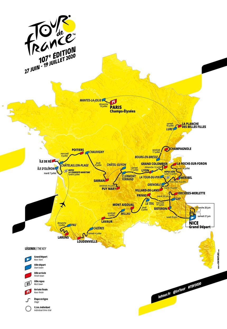 Carte Tour de France 2020 - Crédit ASO