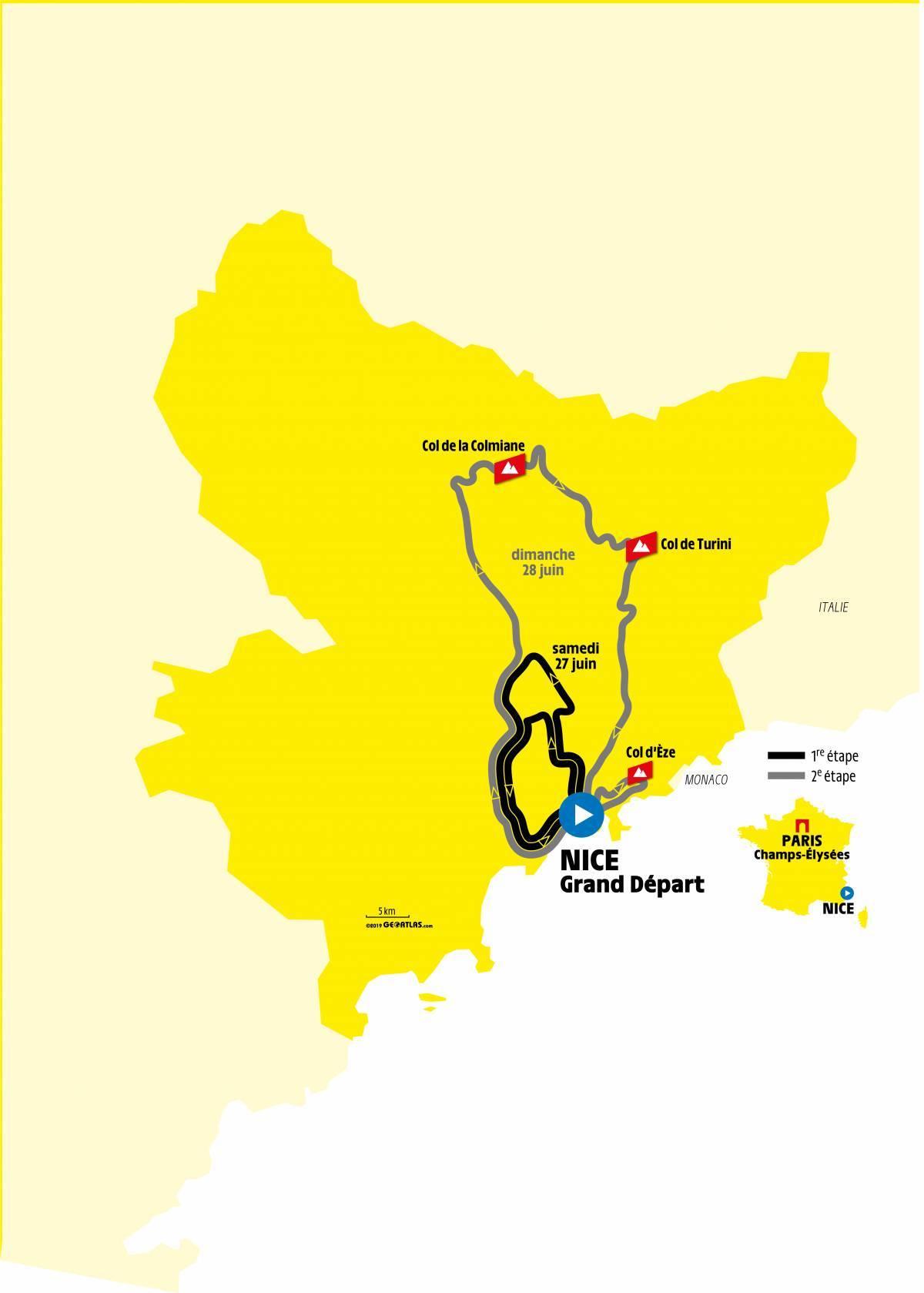 Circuit étapes 1 et 2 du Tour de France 2020 - Crédit ASO