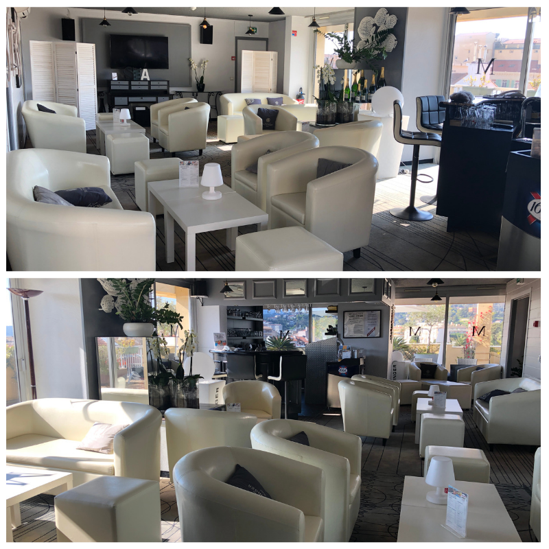 Après la mise en place des nouveautés - Bar du Quality Hôtel Menton Méditerranée