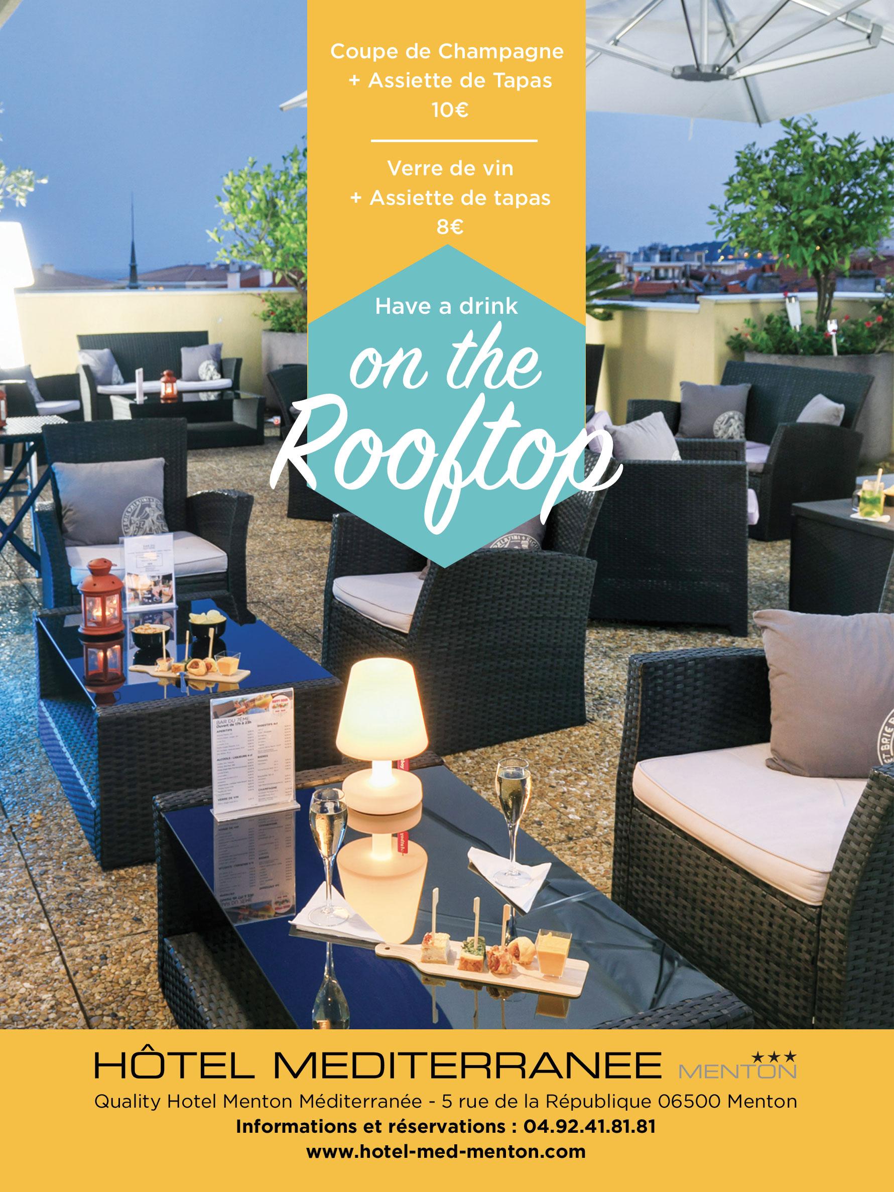 Offre Tapas et Coupe de champagne - Rooftop Quality Hôtel Menton Méditerranée