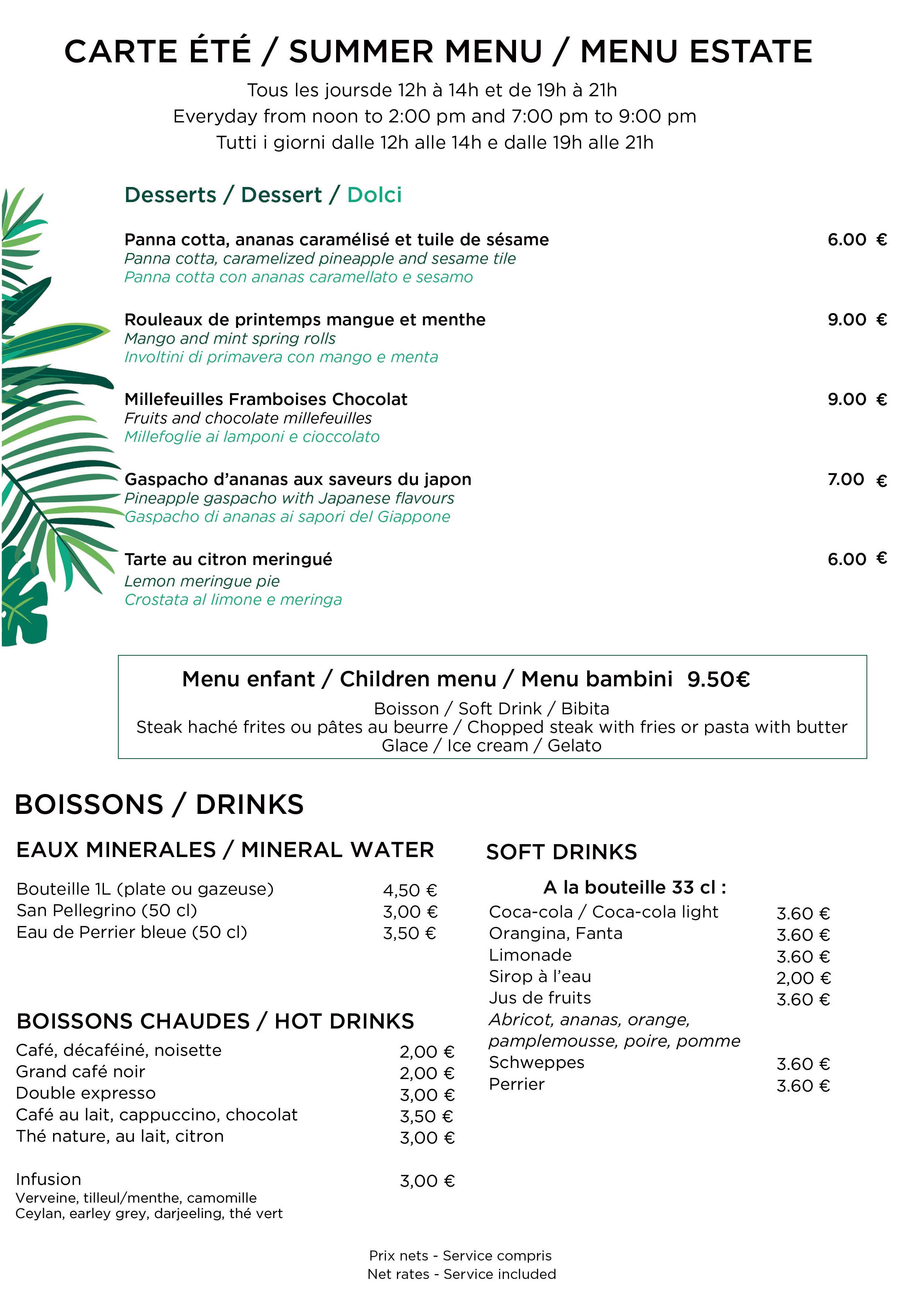 "New summer menu of the restaurant ""Le 5"""
