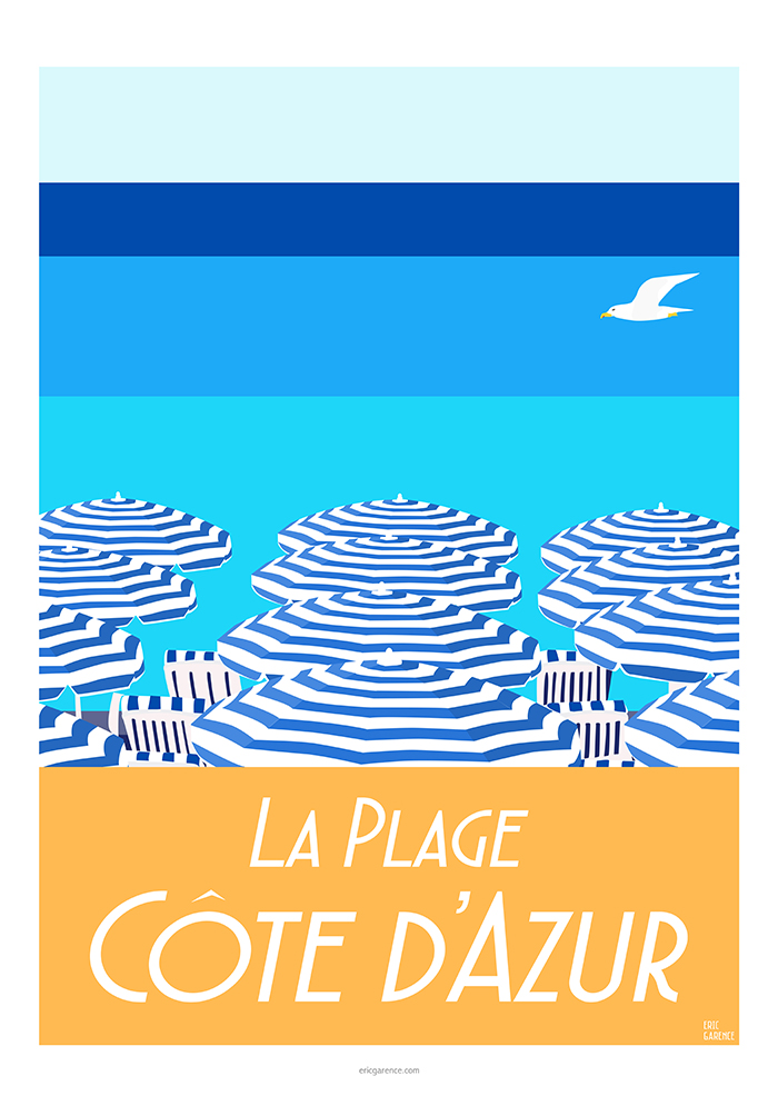 The Côte d'Azur Beach - Illustration Eric garence