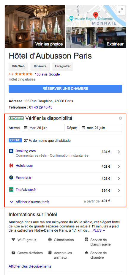 Hotel d'Aubusson - Google Hotel Ads