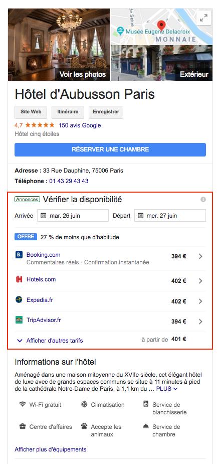 Hotel d'Aubusson - Google Hotel Ads