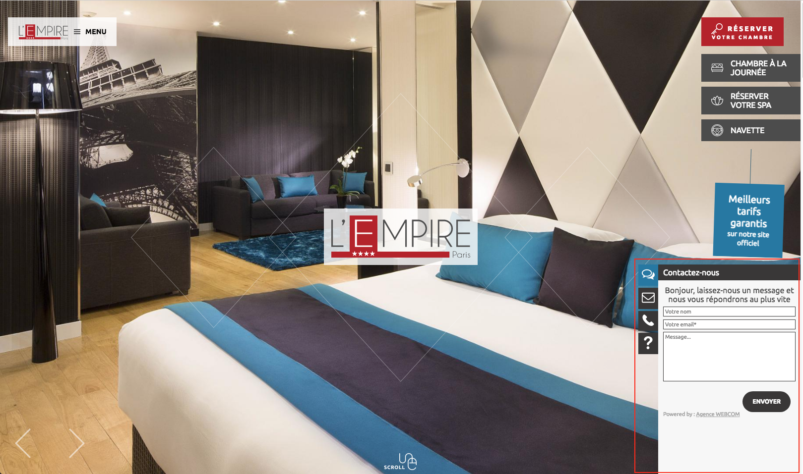 Hotel L'Empire Paris - Exemple de Chat Inactif
