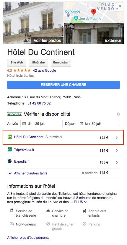 Hotel du Continent - Google Hotel Ads